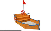 Wooden Ship Sandpit with Flag and Seats