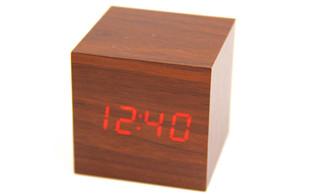 $13.90 for a Wooden Cube Digital LED Alarm Clock