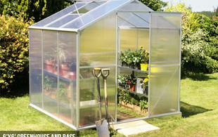 $419 for a Large Aluminium & Polycarbonate Greenhouse with Base Frame or $599 for an Extra Large