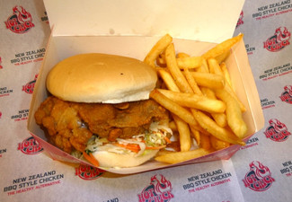 Hot Chick Weekday Burger Combo incl. Southern Fried Boneless Chicken Burger & Fries for One Person