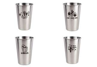 Metal Stainless Steel Cup - Two Sizes & Four Designs Available
