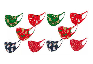 Five-Pack of Christmas-Themed Face Masks - Option for 10-Pack or 20-Pack