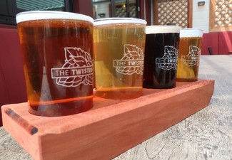 Two Twisted Hop Beer Tasting Trays & Fries or Onion Rings for Two People - Options for Four or Six People