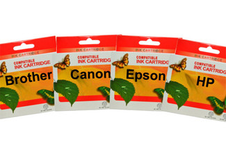 $27 for Five Ink Cartridges Compatible with Epson, Brother or Canon Printers, or $39 for a Set of Premium Ink Cartridges incl. Hewlett Packard Printers, with Free Shipping (value up to $89)