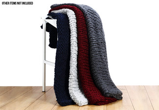 Chunky Knit Blanket - Four Colours