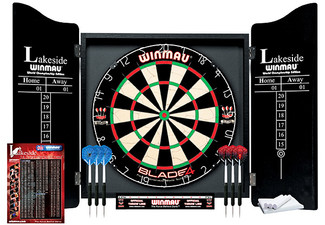 Full Winmau Blade Four Dartboard, Cabinet & Darts Set - Option for Cabinet & Wall Fixings Available