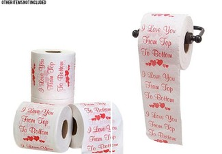 Two-Pack of 'I Love You from the Bottom to the Top' Novelty Toilet Paper - Option for Five-Pack with Free Delivery