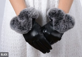 Touch Screen Fur Trim Gloves - Option for Two & Three Colours Available with Free Delivery