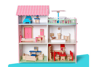 Pink Kids Wooden Play Doll House