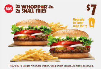 Two WHOPPER JR's & Two Small Fries for $7- Using the Code B05