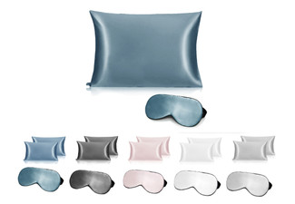 Ramesses Pure Mulberry Silk Pillowcase Range - Five Colours Available & Option for Twin-Pack or to incl. Eye Mask