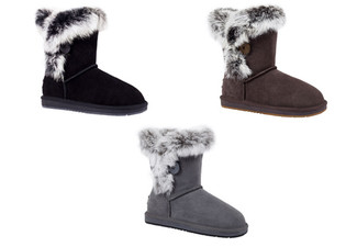 Auzland Women's 'Fame' Australian Sheepskin Fur Trim with Single Button UGG Boots - Three Colours Available