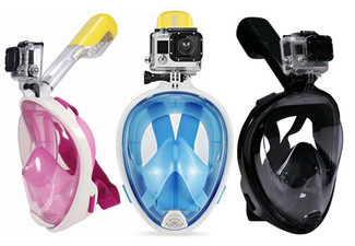 Full-Face Snorkelling Mask with Free Delivery - Three Colours & Two Sizes Available with Option to incl. Underwater Camera