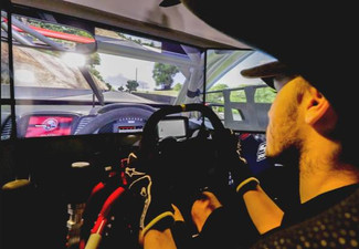 One 30-Minute Brand New Full Motion Car Racing Simulator Session incl. Options for Scott Mclaughlin's Car Themed Sim, Two Other Triple-Screen Themed Sims Virtual Reality and/or Wrap-Around Screen Simulators - Option for 60-Minutes Available