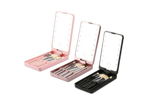 Rotating LED Makeup Mirror incl. Five Brushes - Three Colours Available & Option for Two-Pack