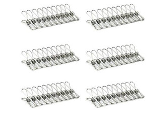60-Pack of Stainless Steel Clothes Pegs - Option for 180-Pack Available