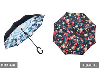 Wind-Resistant Reversible Umbrella - 15 Designs Available