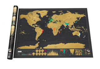 Deluxe Travel Scratch Off World Map - Options for up to Three Maps