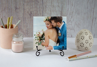 15x15cm Tabletop Acrylic Print with Easel Stand incl. Nationwide Delivery - Options for 13x18cm, or 15x20cm