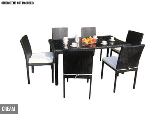 Oasis Outdoor Dining Table & Six Chairs with Cushions - Two Colour Available