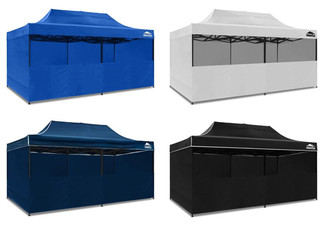 3x6m Gazebo with Sides & Half Wall - Four Colours Available