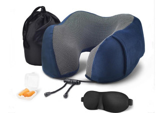 Memory Foam Travel Pillow Set with 3D Contoured Eye Masks & Earplugs - Five Colours Available