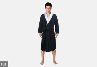 Egyptian Cotton Velour Striped Bathrobe - Four Colours Available
