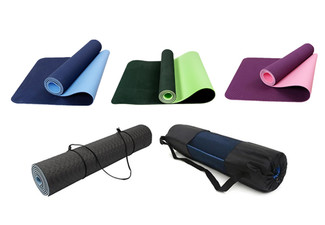 One 6mm Non-Slip TPE Yoga Mat with Carry Rope & Bag - Options for Two Mats & Three Colours Available