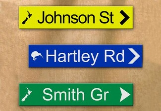 New Zealand Exclusive Personalised Street Sign incl. Nationwide Urban Delivery - Three Colours Available