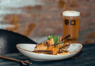 Sharing Fried Chicken & Two Tap Beers for Two People