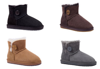 Auzland Unisex 'Clove' Mini Button Water-Resistant Australian Sheepskin UGG Boots - Four Colours & Six Sizes Available