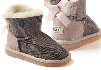 $97 for a Pair of Kids' UGG Snakeskin Mini Bailey Bow Boots