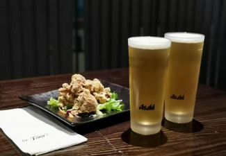 Delicious Japanese Bar Snack & Two Glasses of Beer for One Person - Options for Two & Four People