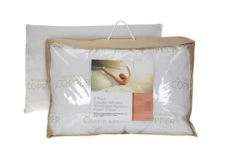 Two-Pack of Copper Infused Shredded Memory Foam Pillows