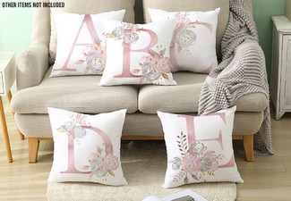 Pink Letter Decorative Pillow Covers - Option for One Letter or Four Letters