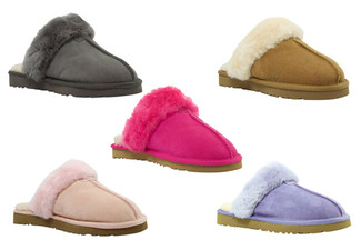 Water-Resistant Auzland Women's 'Anne' Classic Fur Trim Sheepskin UGG Scuffs - Five Colours Available