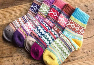 Five Pairs of Women's Winter Thermal Socks - Option for 10 Pairs