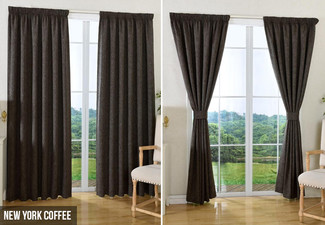Self-Lined Pencil Pleat Ready-Made Curtain - Six Sizes & Five Designs Available