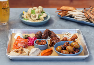 Mediterranean Sharing Platters & Jug of Beer for Two or More People