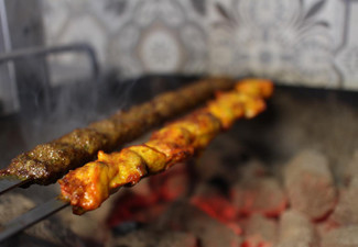 Two Kebab Skewers & Naan Bread Per Person for Two People - Option for Two Kebab Skewers & Naan Bread Per Person for Four People