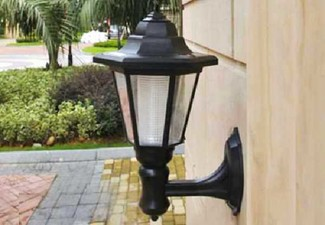 Outdoor Solar Power LED Light with Wall Mount & Ground Pole