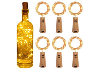 Six-Pack of String LED Wine Bottle Cork Lights - Three Colours Available & Option for Nine-Pack