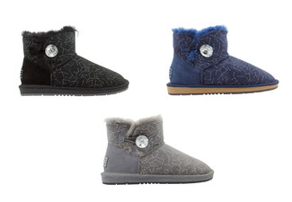 Auzland Women's 'Bambi' Designer Crystal Button Australian Sheepskin Ankle UGG Boots - Three Colours