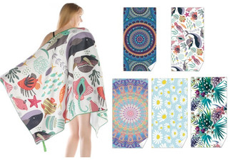 Large Quick-Dry Beach Towel - Five Styles Available & Option for Two-Pack