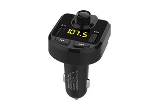 One Bluetooth Car FM Transmitter with Dual USB Car Charging Ports - Option for Two