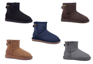 Water-Resistant Auzland Unisex 'Calypso' Classic Mini Sheepskin UGG Boots - Five Colours & Nine Sizes Available