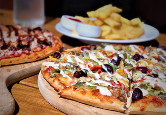 Two Regular Pizzas & a Sharing Bowl of Fries for Two people - Valid Seven Days a Week