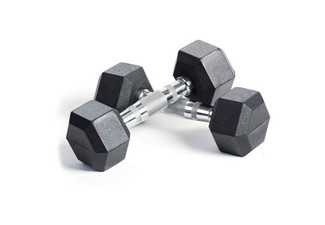 Two Rubber Encased Hex Dumbbell Hand Weights - Four Weight Options Available