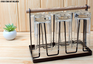 Six-Cup Metal Rack with Wooden Handle - Option for Two