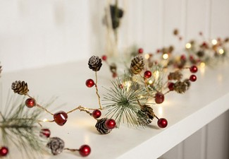 Battery-Powered LED Christmas Red Ball String Light Set - Two Sets Available with Free Delivery
